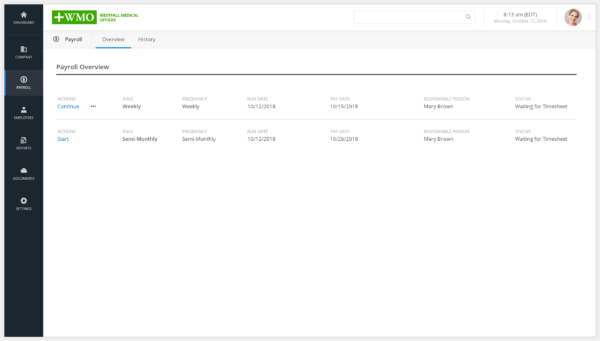 Screen of Client Interface Payroll